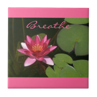 """""""Breathe"""" Pink Lotus Blossom Tle Small Square Tile"""