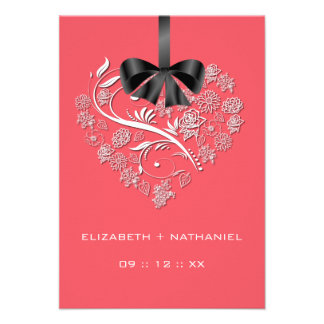 Breathless Heart RSVP Card - coral Personalized Invites