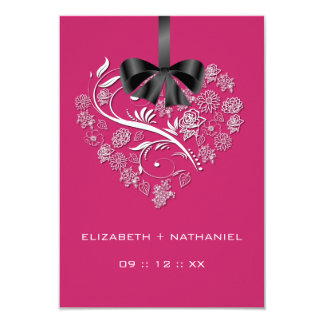 "Breathless Heart RSVP Card - passion pink 3.5"" X 5"" Invitation Card"