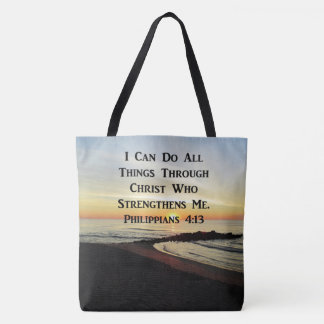 BREATHTAKING PHILIPPIANS 4:13 SCRIPTURE VERSE TOTE BAG
