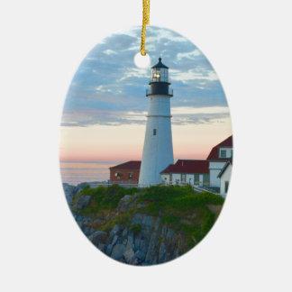Breathtaking Portland Lighthouse Ceramic Oval Decoration