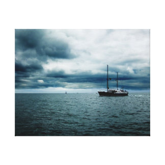 Breathtaking Ship Sailing on Stormy Seas Dramatic Canvas Print