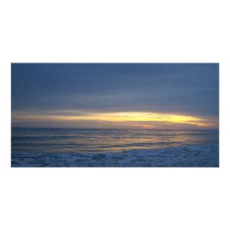 Breathtaking Sunset at Oak Island Customised Photo Card