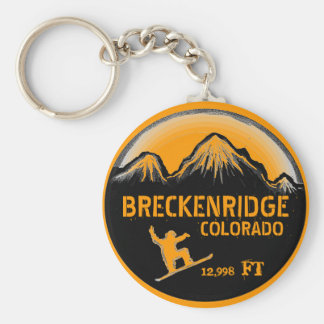 Breckenridge Colorado orange board art keychain