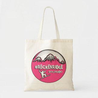 Breckenridge Colorado pink snowboard reusable bag