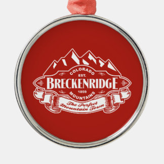 Breckenridge Mountain Emblem Red Christmas Ornament