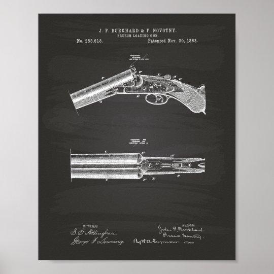 Breech Loading Gun 1883 Patent Art  - Chalkboard Poster