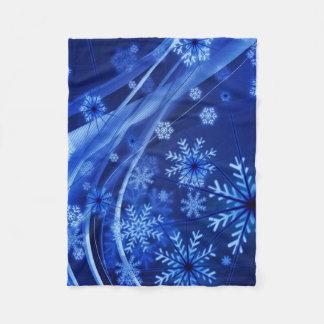Breezy Blue Snowflakes Fleece Blanket
