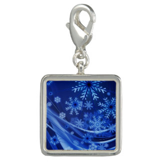 Breezy Christmastime Snowflakes on Blue Photo Charms