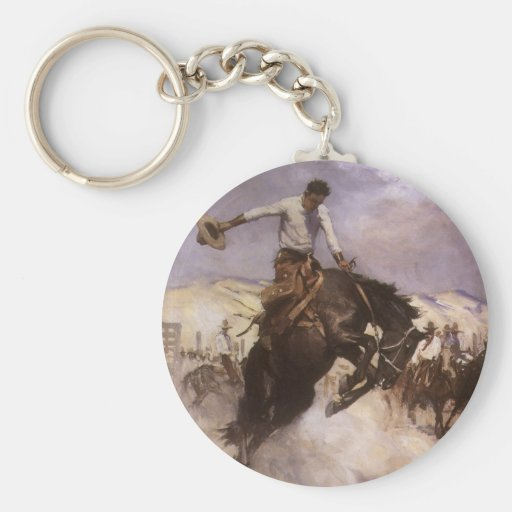 Breezy Riding by WHD Koerner, Vintage Rodeo Cowboy Keychains