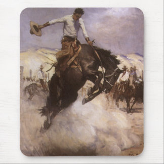 Breezy Riding by WHD Koerner, Vintage Rodeo Cowboy Mousepads