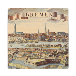Bremen, Germany, 1719 Wood Coaster