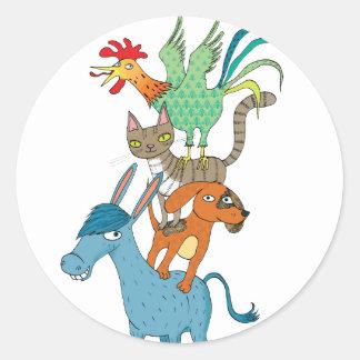 Bremen musicians classic round sticker
