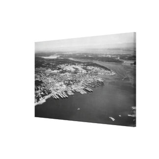 Bremerton, WA - Aerial View of City Photograph Canvas Print