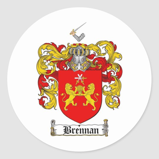 BRENNAN FAMILY CREST -  BRENNAN COAT OF ARMS CLASSIC ROUND STICKER