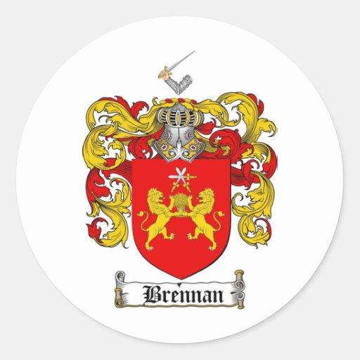 BRENNAN FAMILY CREST -  BRENNAN COAT OF ARMS ROUND STICKER