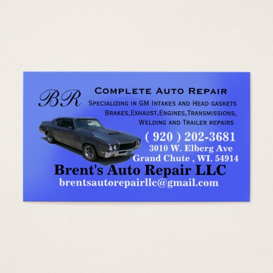 Brents custom order business card