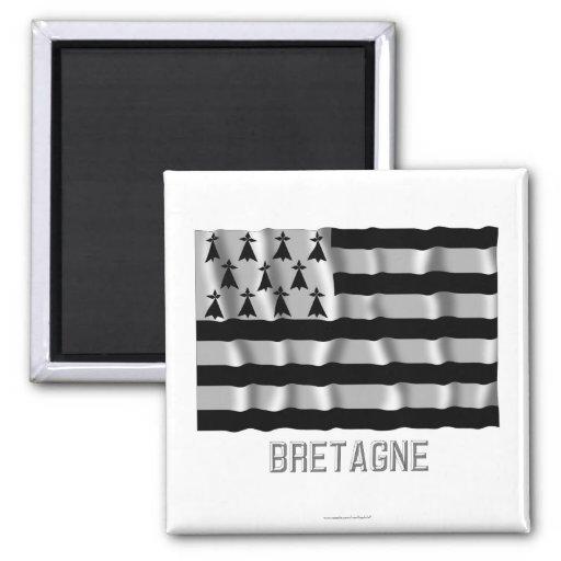 Bretagne waving flag with name refrigerator magnets