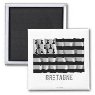 Bretagne waving flag with name square magnet