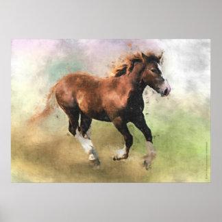 Breton draft horse foal print