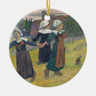 Breton Girls Dancing, Pont-Aven, 1888 Round Ceramic Decoration