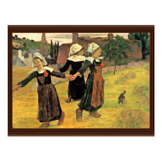 Breton Girls Dancing Pont-Aven By Paul Gauguin Postcard