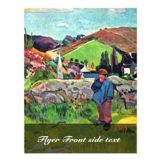 Breton Landscape With Swineherd By Gauguin Paul 21.5 Cm X 28 Cm Flyer