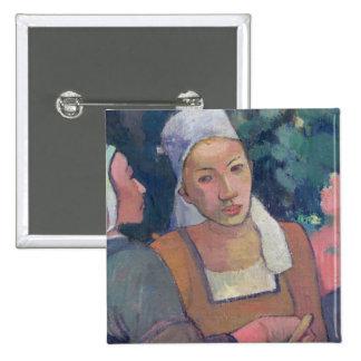 Breton Peasants, 1894 (oil on canvas) 15 Cm Square Badge