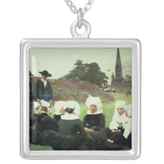 Breton Women Sitting at a Pardon Silver Plated Necklace