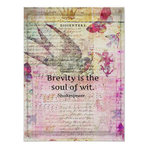 Brevity is the soul of wit QUOTE ART