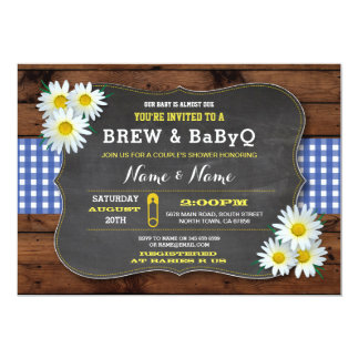 Brew and BABYQ Baby Shower Blue Check Card