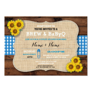 Brew & BABYQ Blue Baby Shower Burlap Sunflower Card