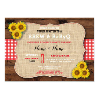 Brew & BABYQ Red Baby Shower Burlap Sunflower Card