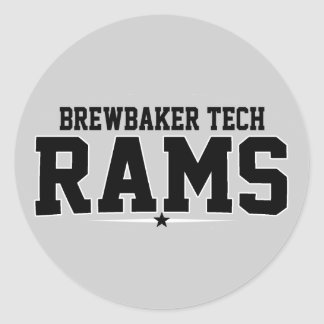 Brewbaker Tech; Rams Round Stickers