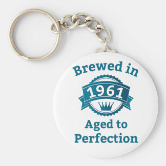 Brewed in 1961 Aged to Perfection Basic Round Button Key Ring
