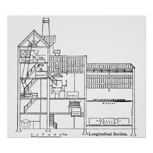 Brewery Blueprint Cross Section Poster
