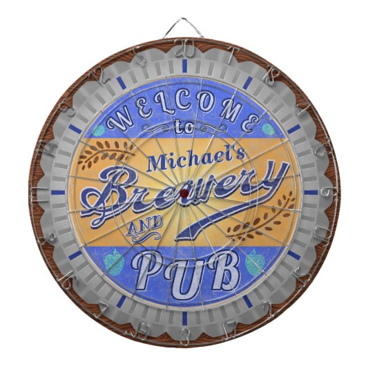 Brewery Pub Personalised Beer Bottle Cap Dartboard