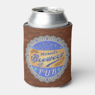 Brewery Pub Personalized Beer Bottle Cap Can Cooler