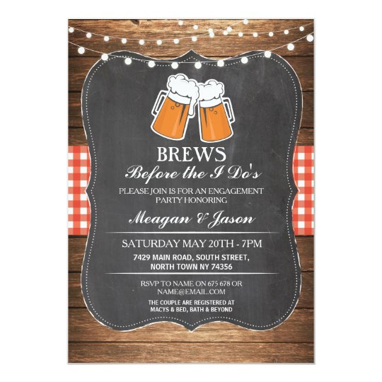 Brews Before The I Do's Engagement Party Invite
