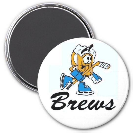 brews logo 7.5 cm round magnet
