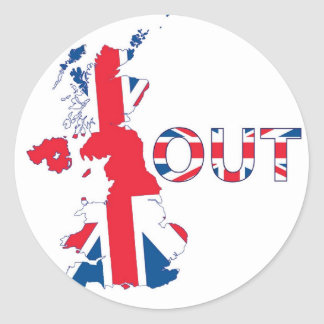 BREXIT OUT UNION JACK CLASSIC ROUND STICKER