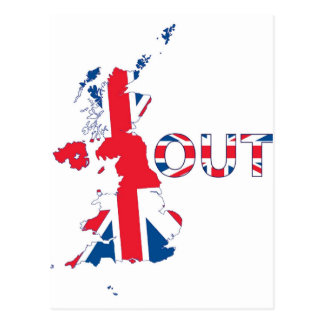 BREXIT OUT UNION JACK POSTCARD