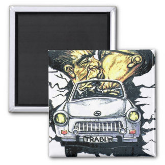 Brezhnev & Honecker, Trabant Car , Berlin (pst) Square Magnet