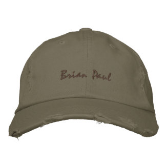 Brian Paul Destroyed Vintage Hate Army Green Embroidered Hat