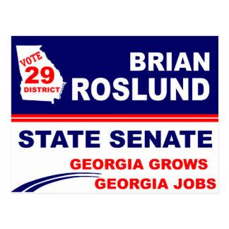 Brian Roslund for Georgia State Senate Postcards