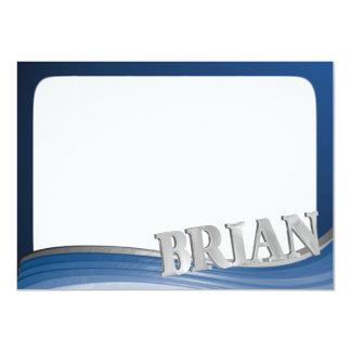 BRIAN Steel Wave Flat Note 11 Cm X 16 Cm Invitation Card