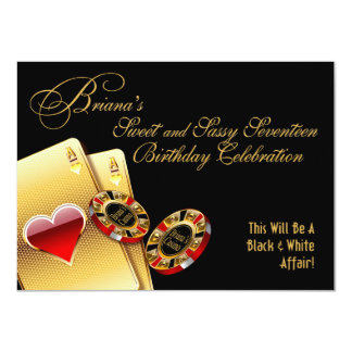 Briana Casino Night 17th Birthday Party Personalized Invites