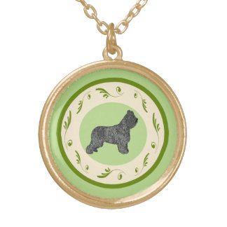 Briard and Green Swirls Gold Plated Necklace