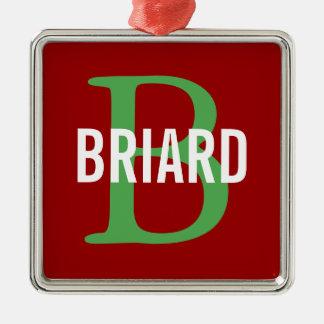 Briard Breed Monogram Design Silver-Colored Square Decoration