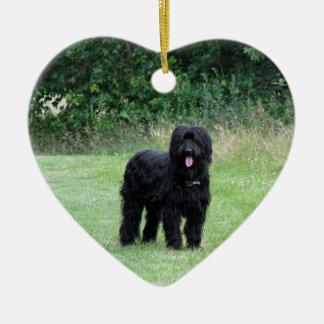 Briard dog hanging heart ornament, pendant, gift ceramic heart decoration